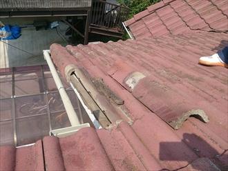 横浜市緑区でモニエル瓦の修理工事をおこないました