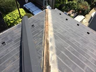 相模原市中央区大雨や突風で飛ばされた屋根棟板金の交換工事