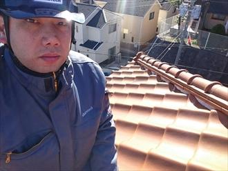 横浜市磯子区でしっくいが剥がれたので瓦屋根の調査です