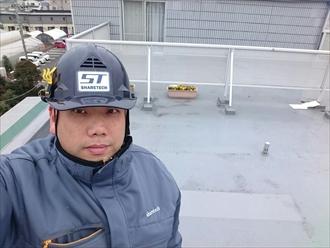 横浜市神奈川区でマンションのテラス部分の雨樋交換工事
