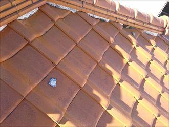 川崎市川崎区|雨漏り防止に棟瓦漆喰詰め直し工事