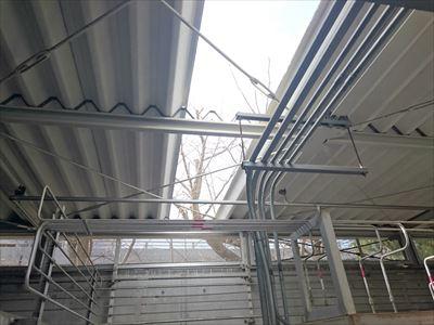折板屋根,撤去工事