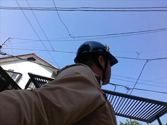 漆喰詰め直し工事をおこなっている横浜市旭区の現場です