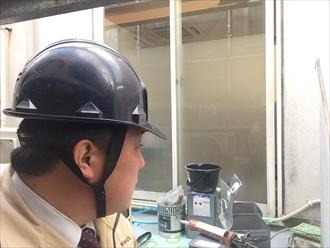 横浜市磯子区ルーフバルコニーを通気緩衝工法で防水工事中
