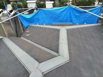 化粧スレート屋根高圧洗浄前