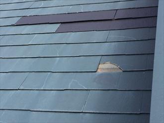 風の影響で化粧スレートが割れてしまいました|横浜市金沢区