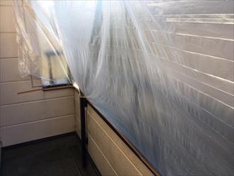 バルコニー床のウレタン防水にカチオンを塗布|横浜市保土ヶ谷区