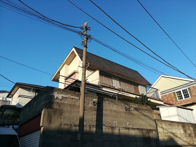横浜市港北区|スレート屋根の破片がお隣のお庭へ落下