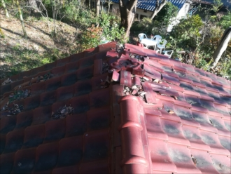 横浜市青葉区|瓦屋根の一部が破損(崩壊)点検・調査
