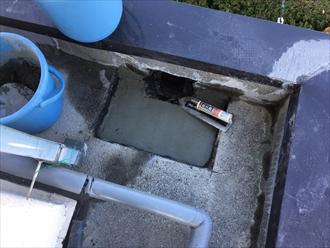 防水工事でドレンの周りを工夫して改修ドレンを納めます|横浜市戸塚区