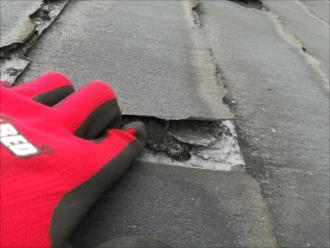 屋根材表面の剥離(状況確認)