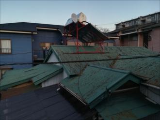 横浜市南区|築70年以上、増築で連なったいくつものトタン屋根の雨漏り調査