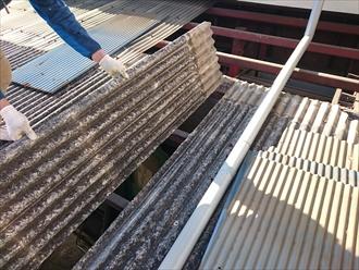 雨漏りしている工場の古いスレート屋根を差し替えます|川崎市多摩区