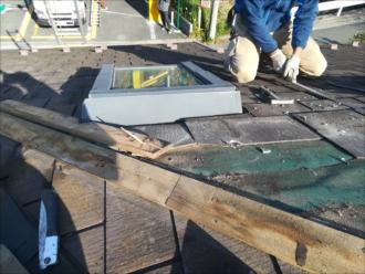 トップライト廻りの屋根材剥がし