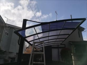 横浜市港北区|カーポート屋根の部分的な張り直し