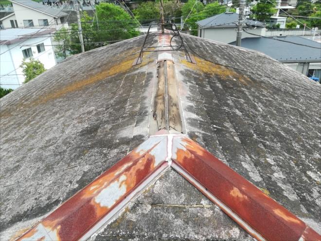 横浜市都筑区|棟板金の飛散・板金工事の様子
