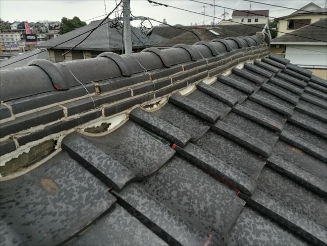 横浜市港北区|瓦屋根調査・漆喰の崩れ、棟の歪み