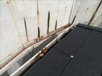 横浜市中区|落ち葉よけネット設置工事の様子