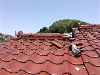強風のあとは屋根を確認してみましょう棟瓦の倒壊|横浜市磯子区