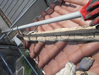 洋瓦屋根の棟瓦取り直し2
