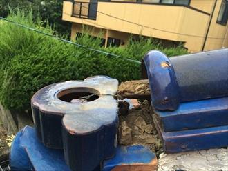 横浜市旭区で倒れた鬼瓦を棟瓦取り直し工事で元に戻します
