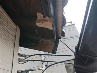 横浜市神奈川区で台風被害、消えた鼻隠し(はなかくし)と雨樋エスロンE70の調査