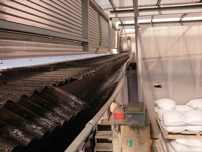 横浜市都筑区にて倉庫の雨樋から水が溢れでてしまう原因を調査しました