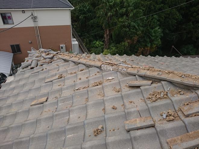 横浜市緑区で台風により隅棟が崩壊、復旧の為に調査しました
