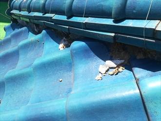 横浜市中区で台風被害を受けた瓦屋根の漆喰(しっくい)調査