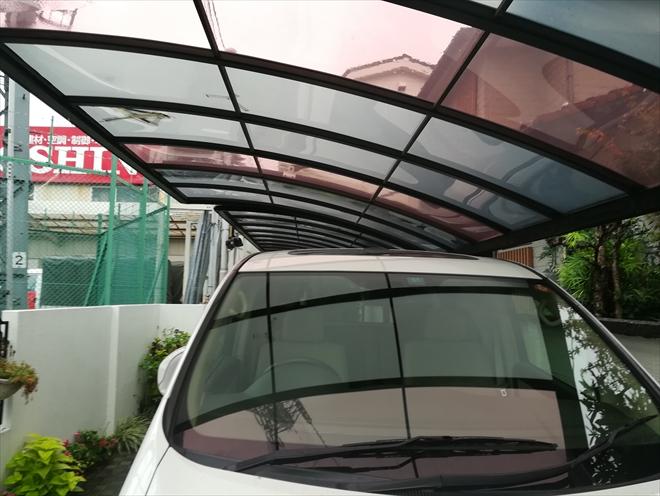 川崎市中原区にてカーポート屋根の張替え調査、新規屋根材はポリカーボネートがお勧めです
