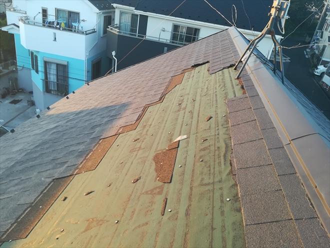 横浜市保土ヶ谷区で台風による屋根材(アスファルトシングル)の飛散調査