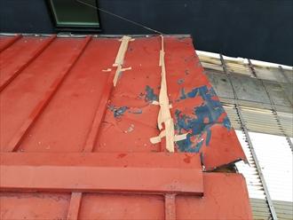 横浜市鶴見区にて瓦棒葺き屋根の葺き替え前調査