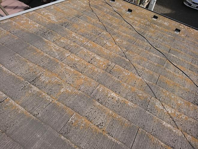 横浜市磯子区にて屋根調査、棟板金の錆と苔などの付着が気になります