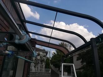 横浜市港北区にて台風で被害を受けたテラスポートの調査
