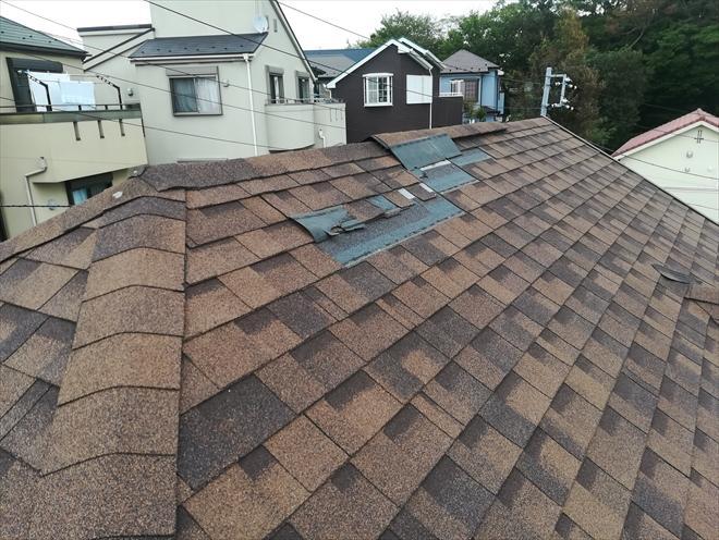 屋根材の剥がれの確認
