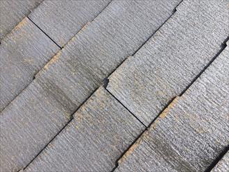 横浜市中区の屋根調査、棟板金の飛散で屋根に上がるとコロニアルの傷みも確認