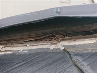横浜市港北区大曾根にて棟板金交換工事施工中の様子、着工してわかった貫板の腐食