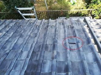 横浜市青葉区つつじが丘にて瓦屋根からの雨漏り調査の様子