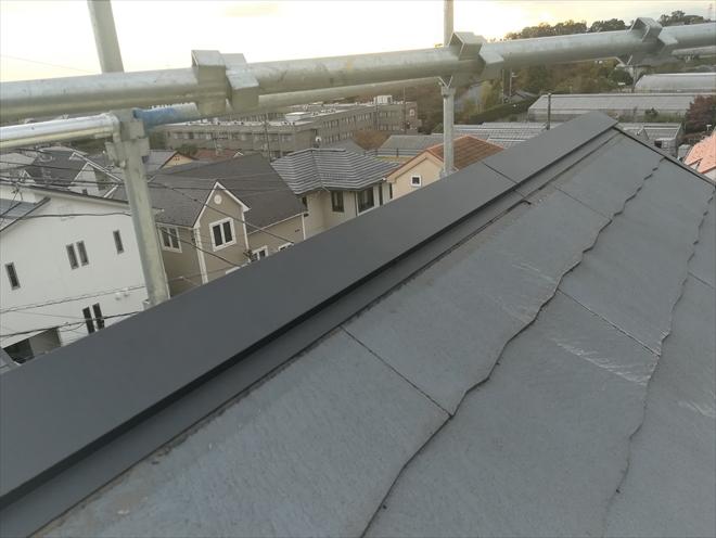 片流れ屋根棟板金復旧工事完了