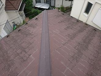 屋根全体が雨水を吸っていて黒ずんでいる様子