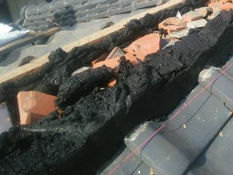 平塚市大原 棟取り直し工事 南蛮漆喰を使って棟を作る