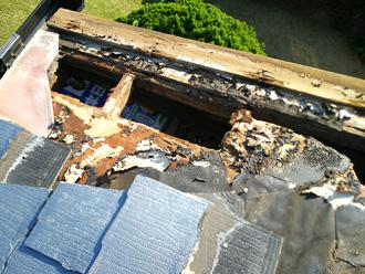 伊勢原市上粕屋 ミサワホームの屋根 野地板が腐食している