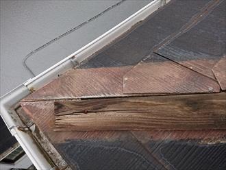 軒先から見る貫板は腐食が進み黒ずんでいます