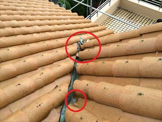 平塚市田村で洋瓦の屋根調査、破損した洋瓦の交換と棟の取り直しが必要でした