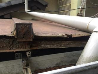 茅ヶ崎市赤羽根で板金屋根を調査、軒先の錆による腐食を確認しました