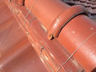中郡大磯町大磯の瓦屋根調査、そろそろ寿命を迎える粘土瓦でした