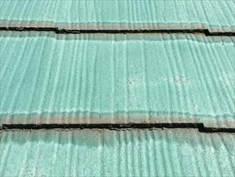 スレート屋根端部の染み