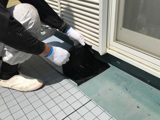 海老名市中新田 バルコニー床の防水工事 通気緩衝シート