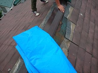 ブルーシートと土のうを屋根にあげて水が染み入りそうなところへカバーします