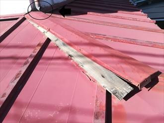 下屋根棟板金の外れと這樋の破損